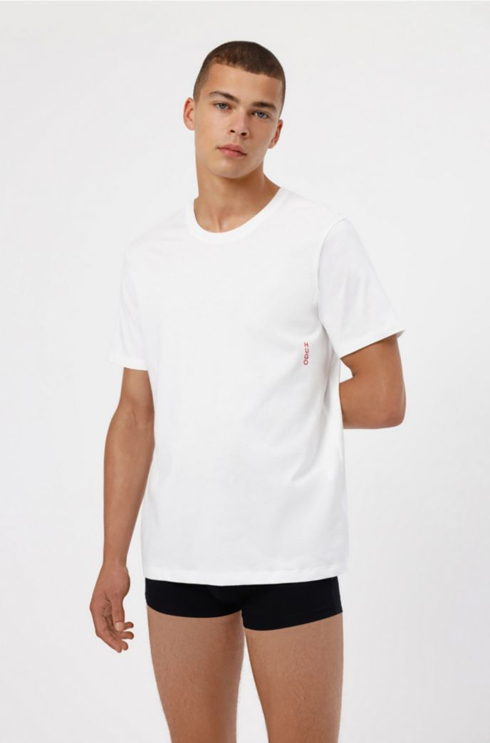 Two cotton bodywear T-shirts with vertical logo