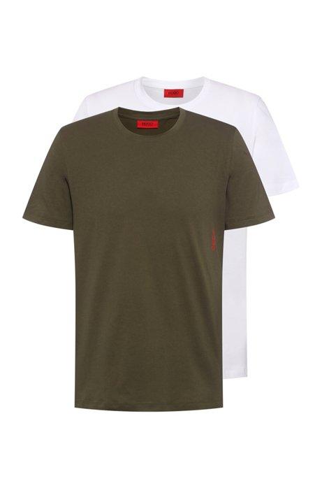 Juego de dos camisetas bodywear de algodón con logo en vertical, Verde oscuro