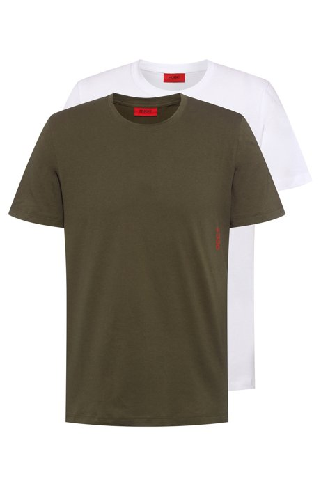 Two cotton bodywear T-shirts with vertical logo, Dark Green