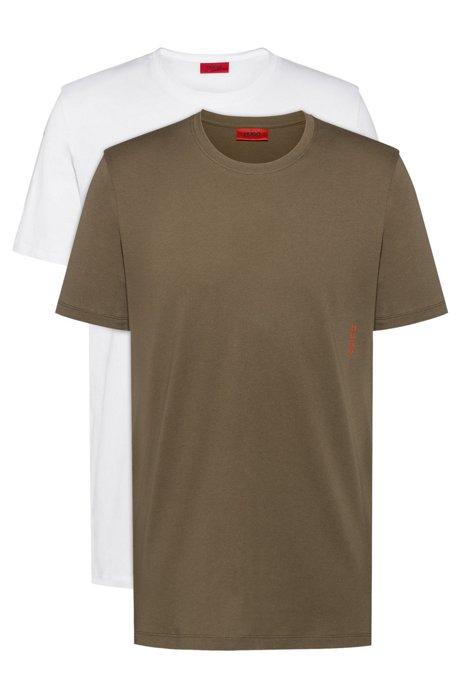 Two cotton bodywear T-shirts with vertical logo, Khaki