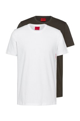 Two cotton bodywear T-shirts with vertical logo, Light Green