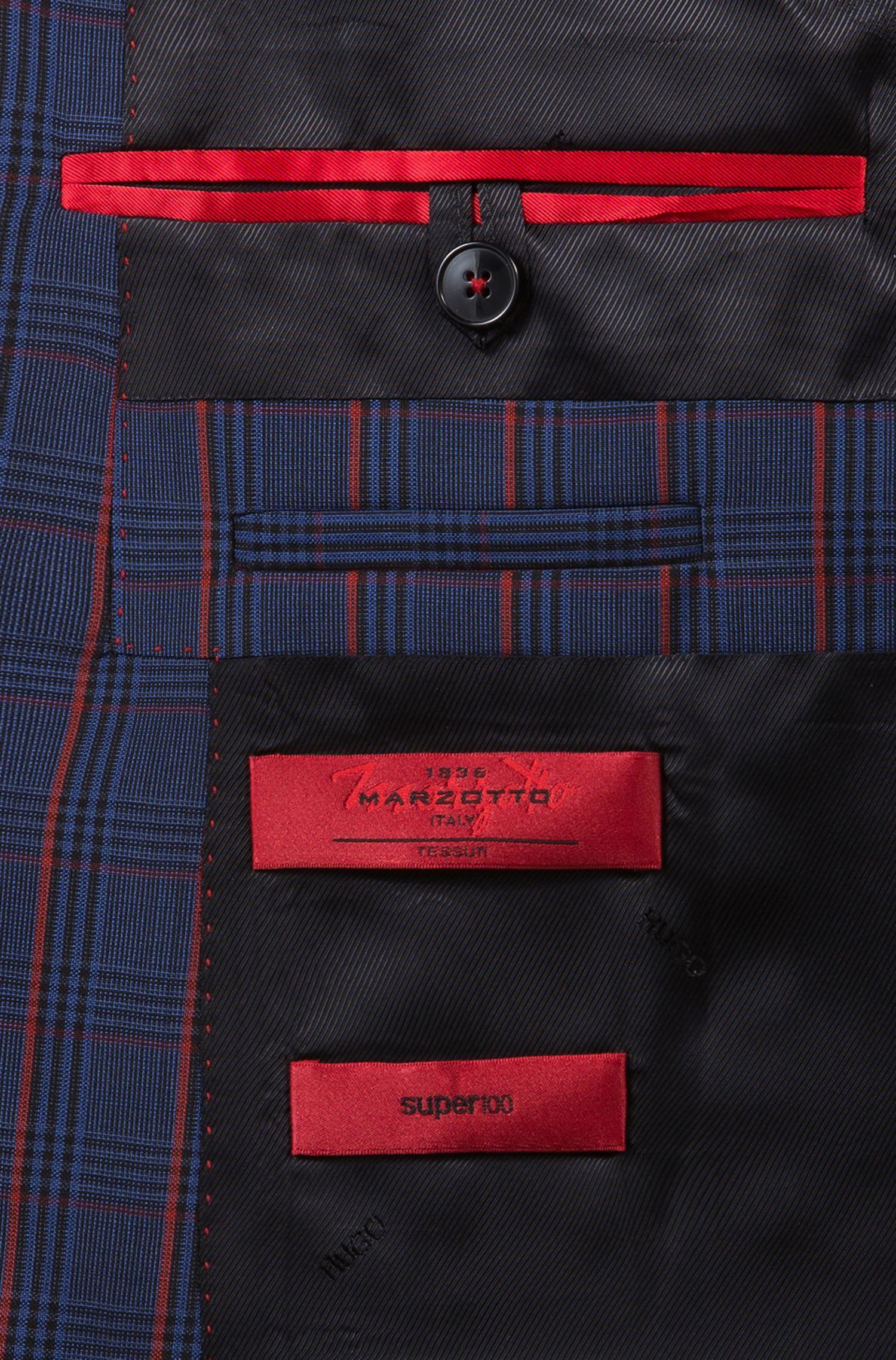 Abito extra slim fit in lana vergine a quadri colorati, A disegni
