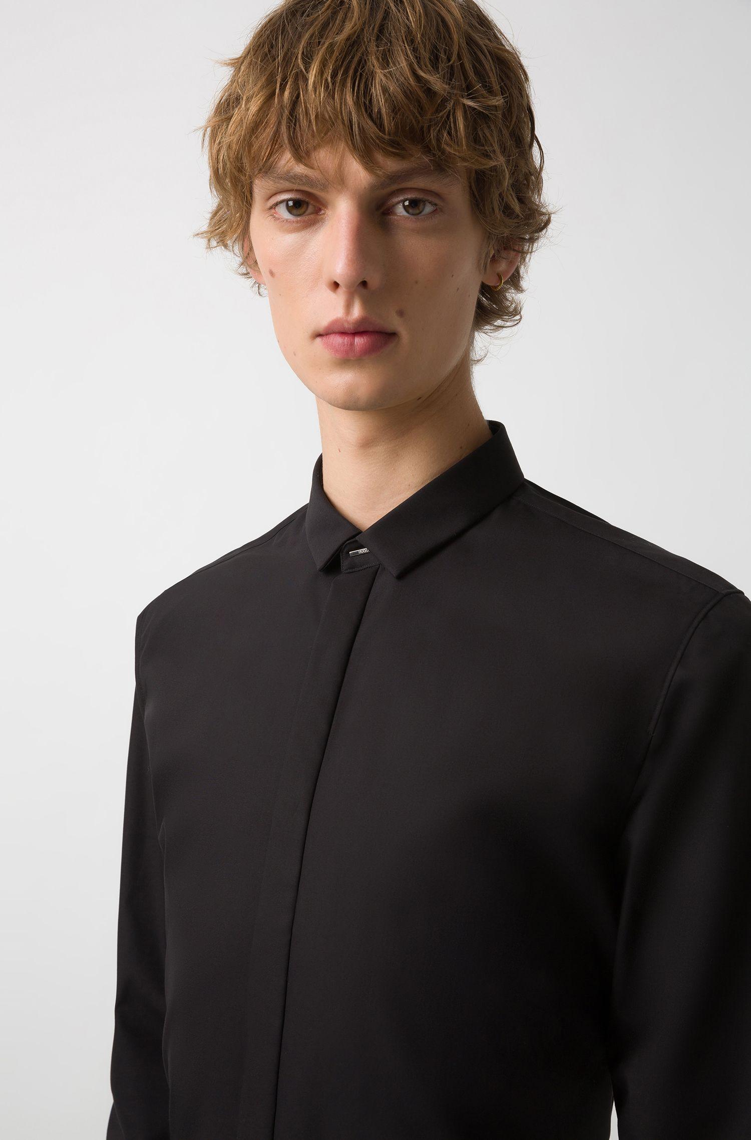 Camicia elegante extra slim fit in popeline di cotone, Nero