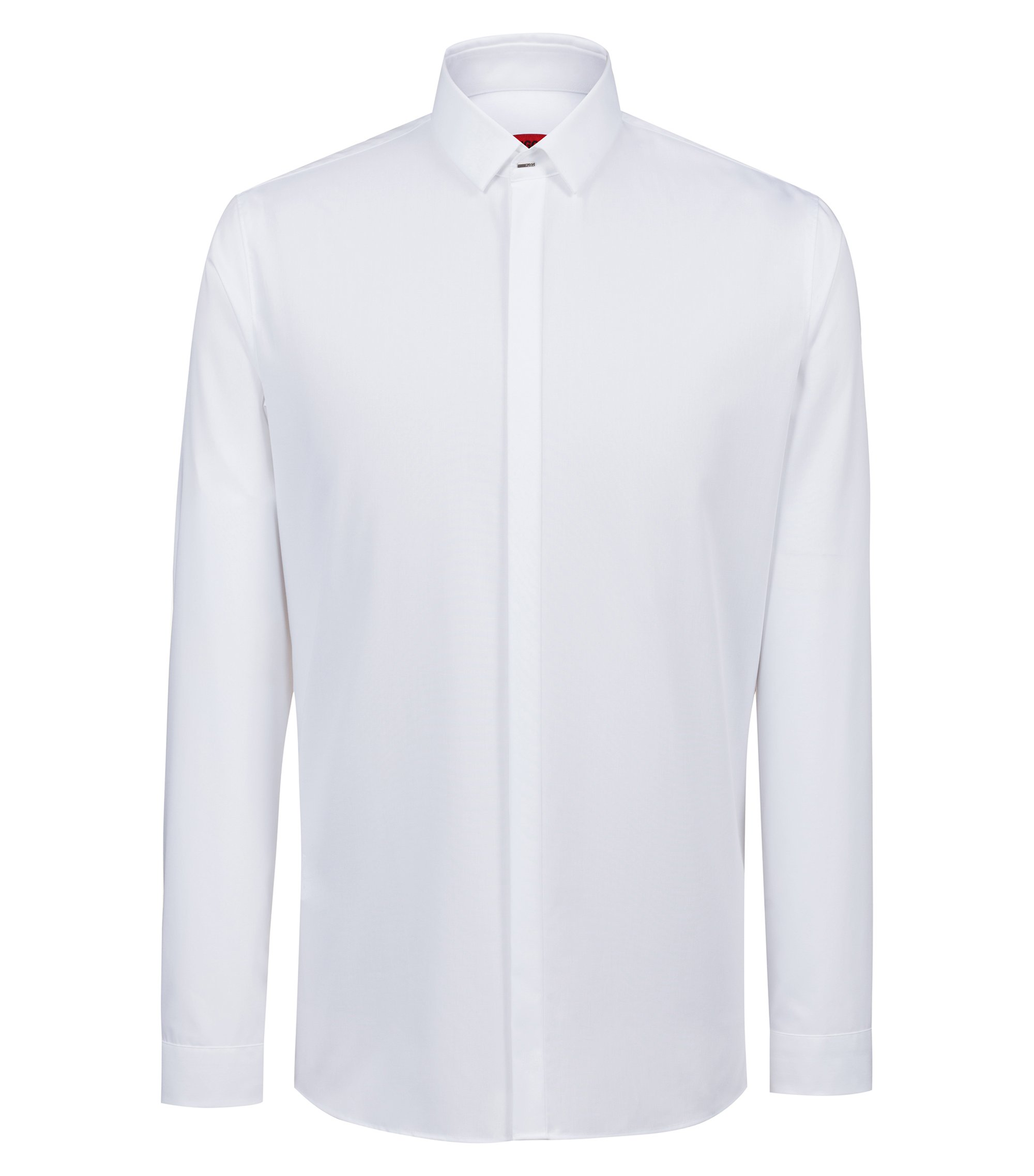 Extra-slim-fit dress shirt in cotton poplin, White