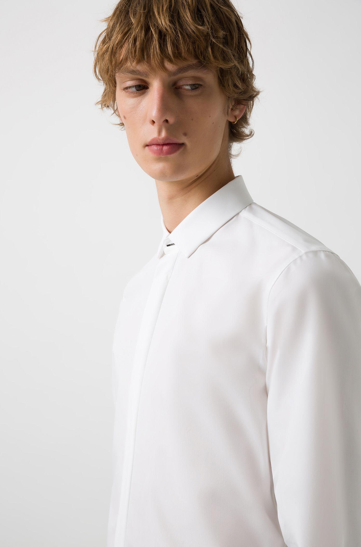 Chemise Extra Slim Fit en popeline de coton, Blanc
