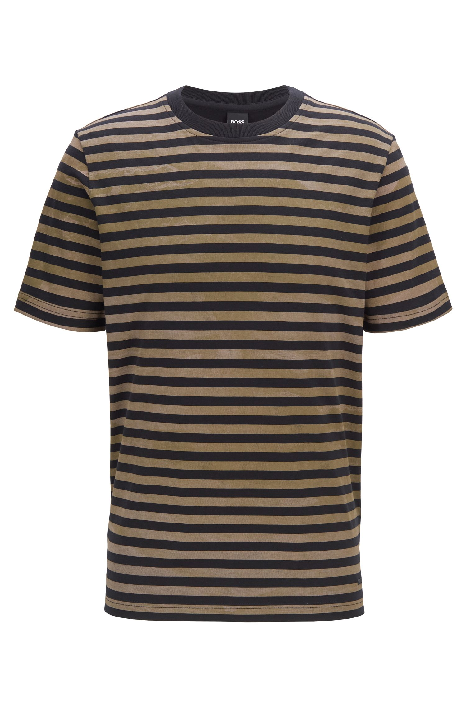 Gestreiftes T-Shirt aus Baumwolle mit gebleichtem Effekt, Schwarz