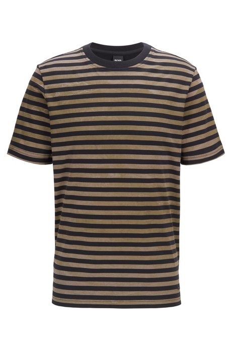 Striped cotton T-shirt with bleached effect, Black