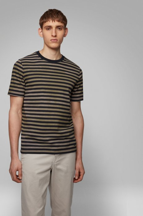 Gestreept katoenen T-shirt met gebleekt effect, Zwart