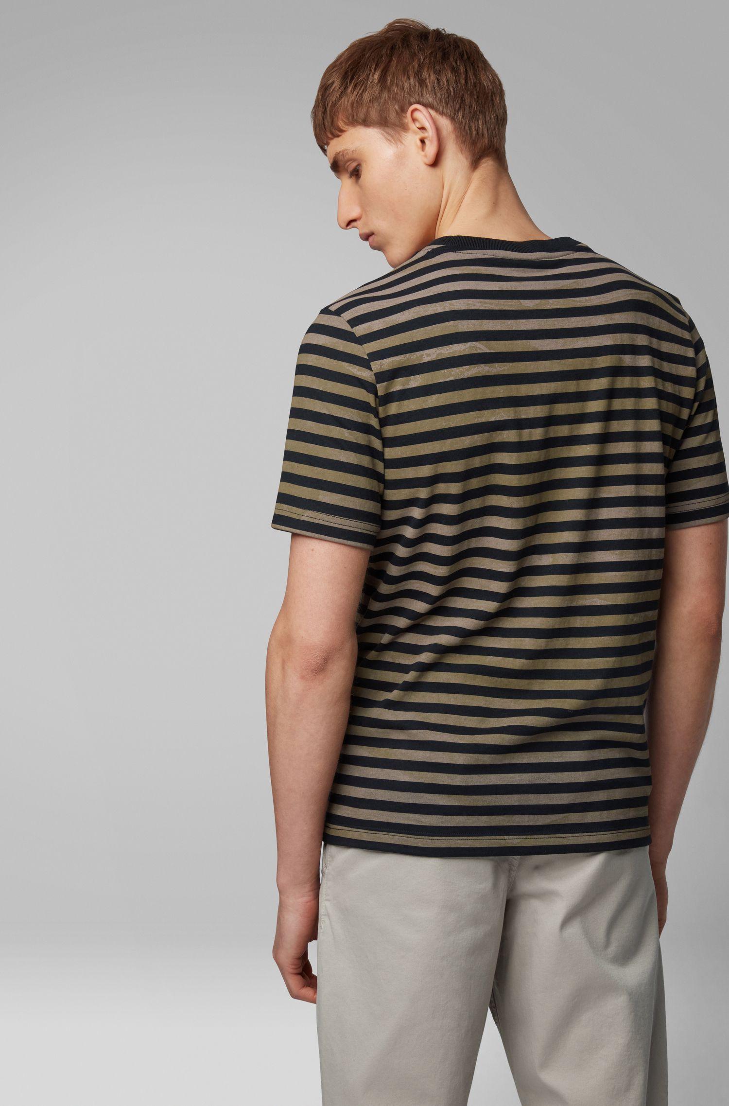 T-shirt en coton à rayures à effet délavé, Noir