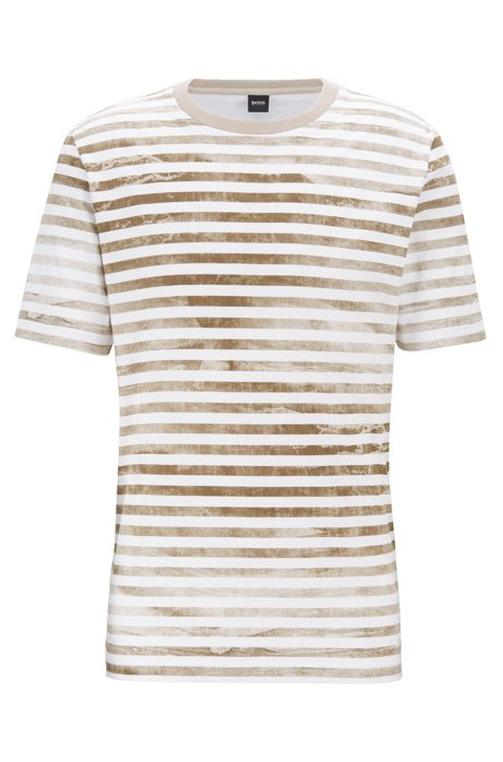 Striped cotton T-shirt with bleached effect, Light Beige