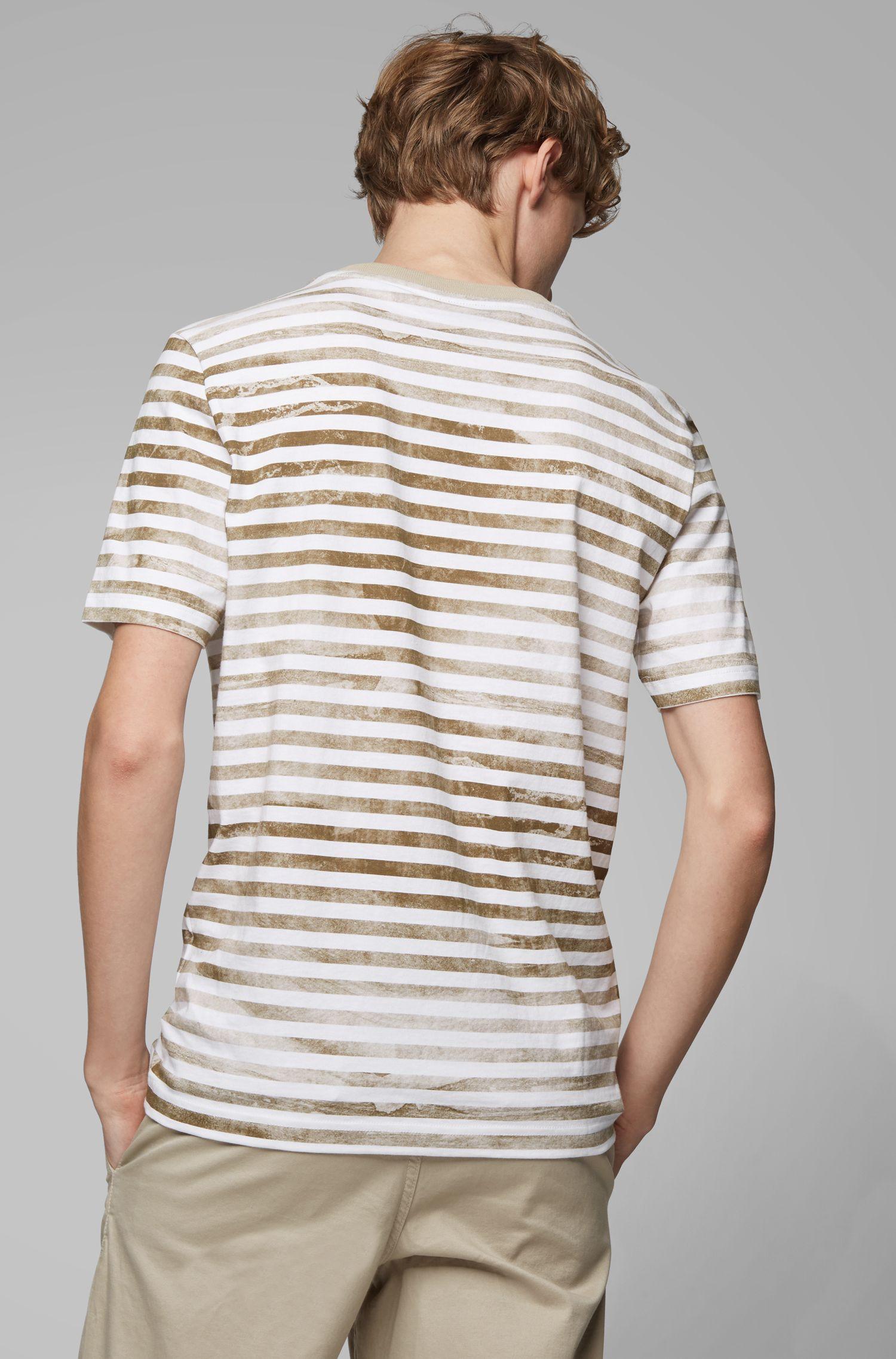 Gestreiftes T-Shirt aus Baumwolle mit gebleichtem Effekt, Hellbeige