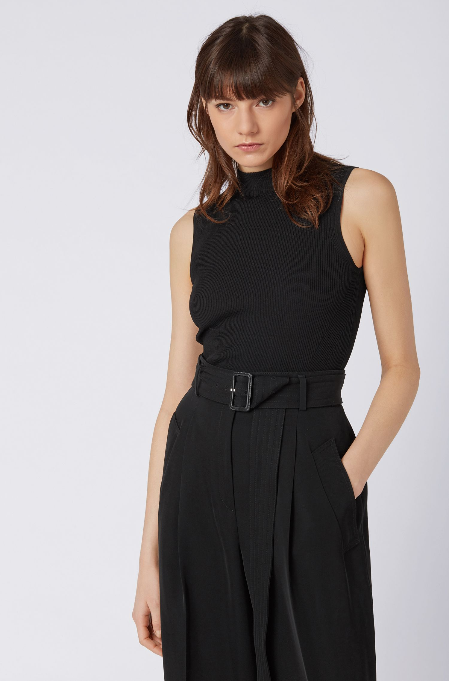 Slim-fit sleeveless top in a ribbed knit, Black