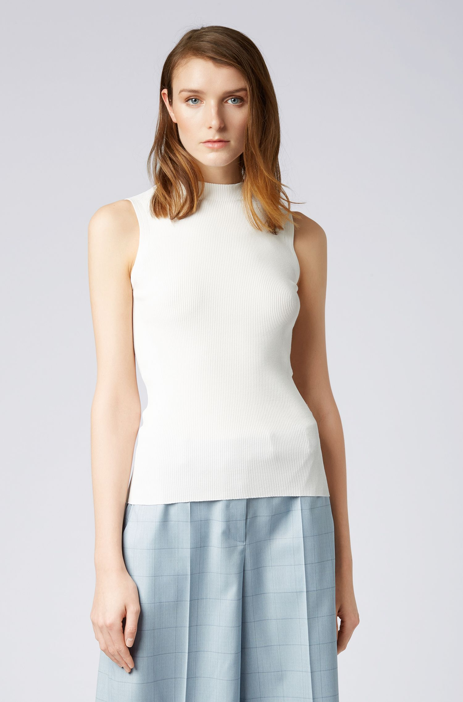 Slim-fit sleeveless top in a ribbed knit, Natural