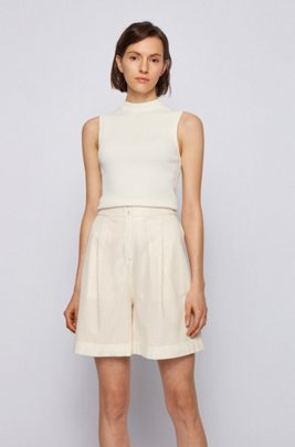Slim-fit sleeveless top in a ribbed knit, White