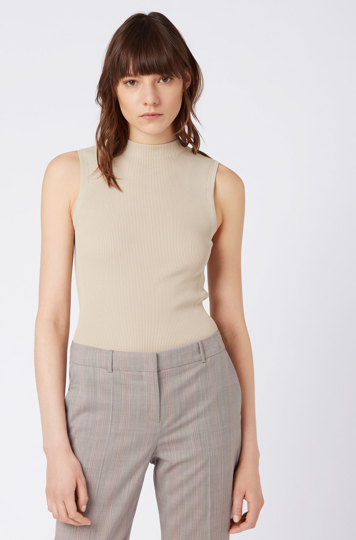 Slim-fit sleeveless top in a ribbed knit, Beige