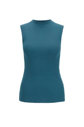 Slim-fit sleeveless top in a ribbed knit, Dark Blue