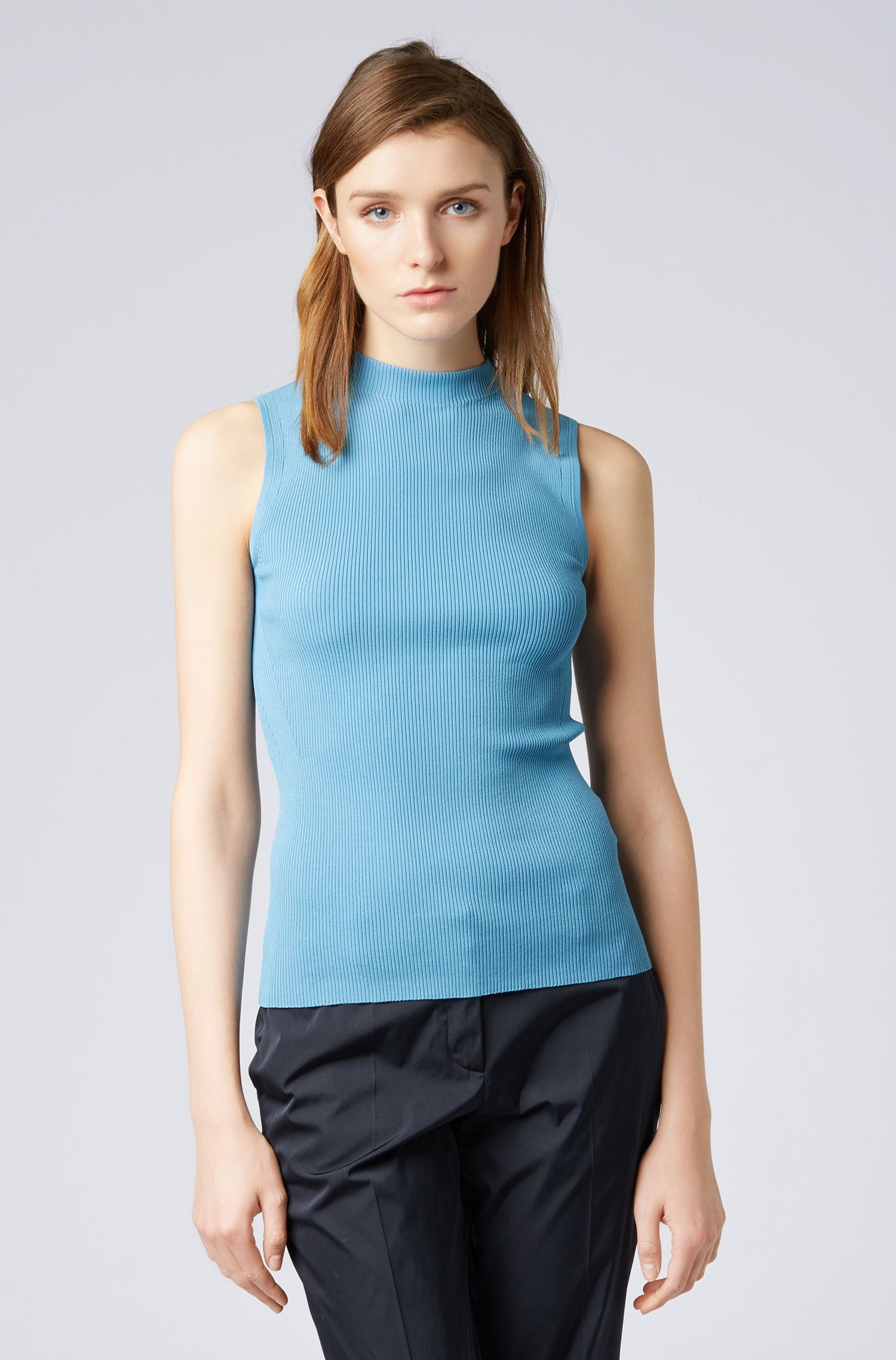 Slim-fit sleeveless top in a ribbed knit, Blue