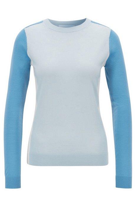 Pull Slim Fit en laine vierge avec motif color block intarsia, Bleu