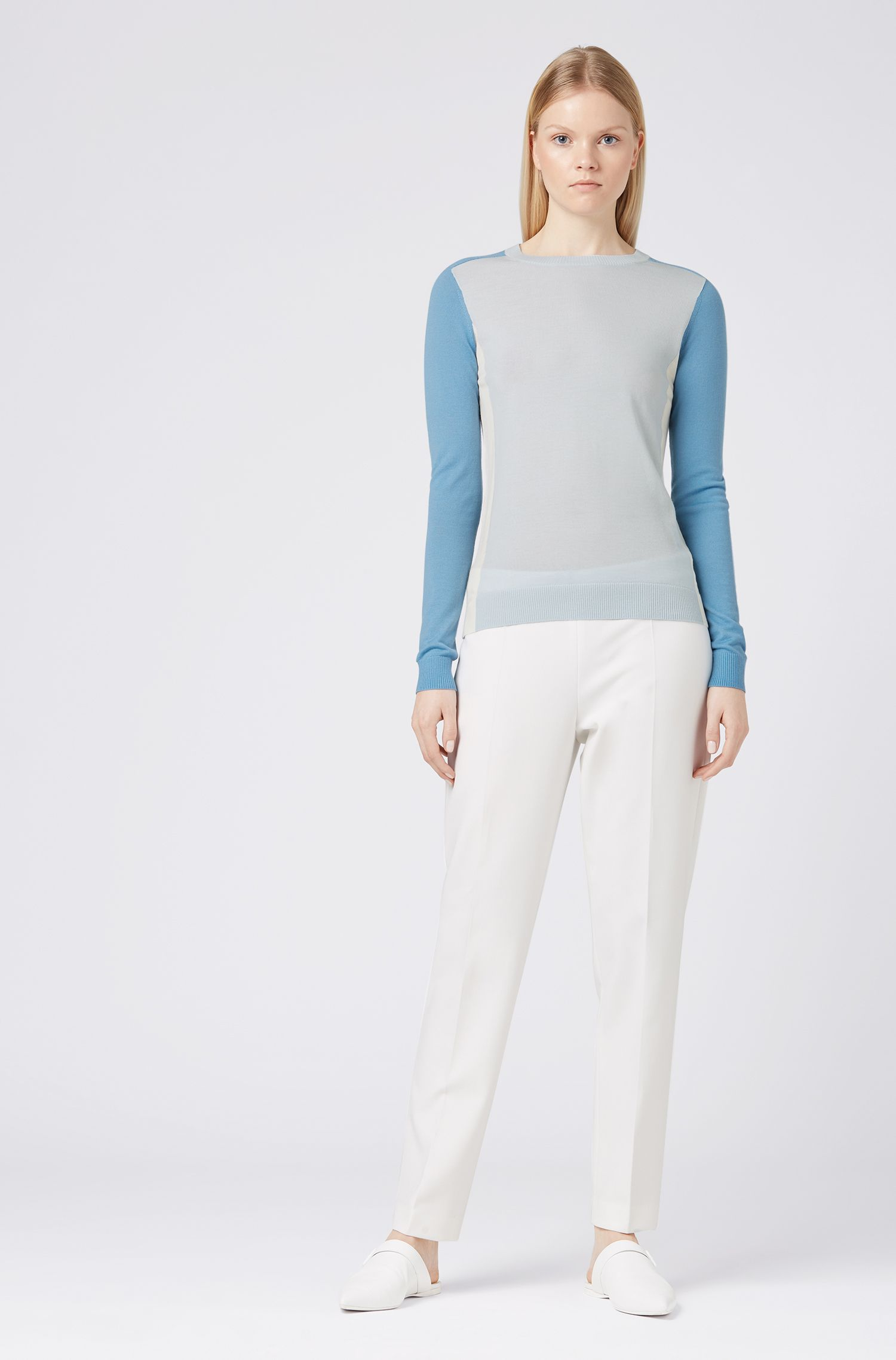 Slim-fit sweater in virgin wool with intarsia colourblocking, Blue