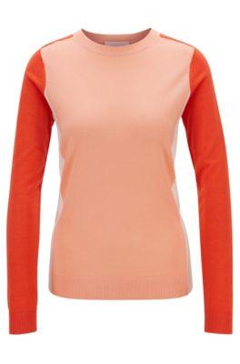 Pull Slim Fit en laine vierge avec motif color block intarsia, Orange