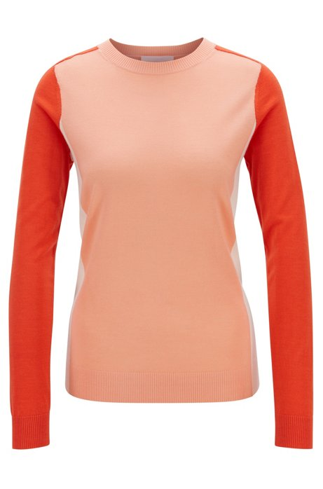 Pull Slim Fit en laine vierge avec motif color block intarsia, Orange