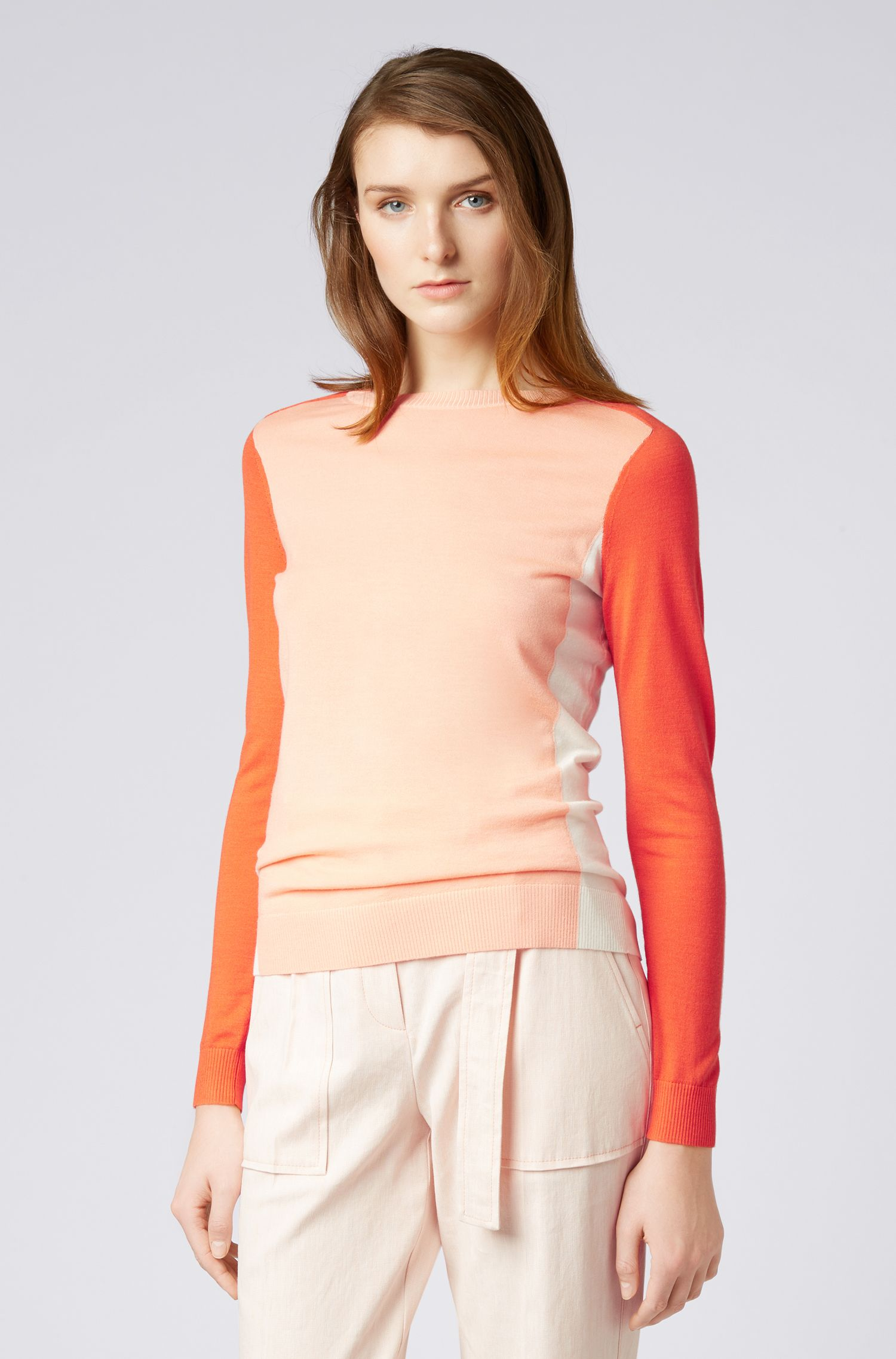 Slim-fit trui van scheerwol met blokkleur-intarsia, Oranje