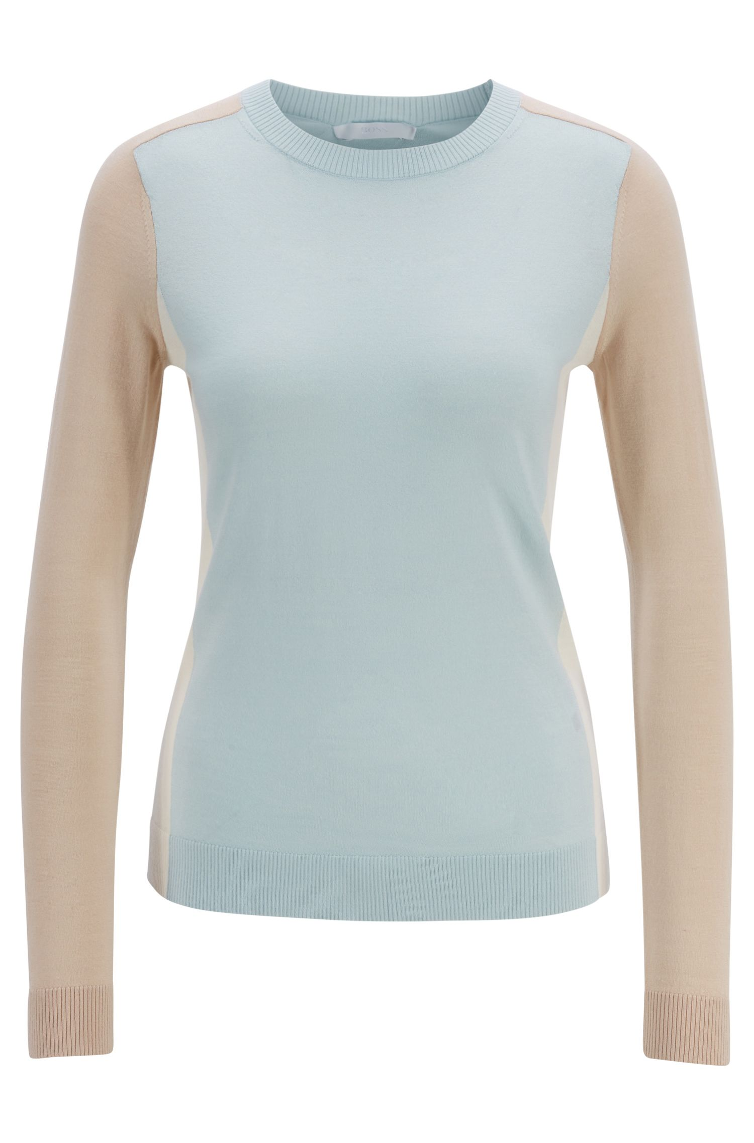 Slim-fit sweater in virgin wool with intarsia colourblocking, Light Blue