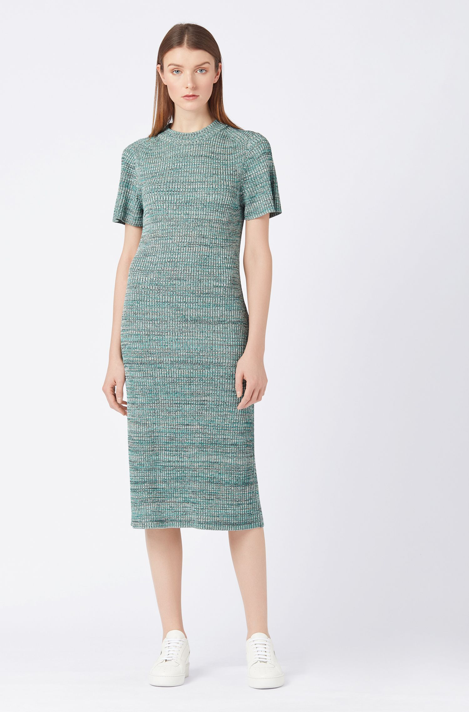 Short-sleeved knitted dress in multicoloured mouliné fabric, Patterned