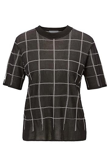 女士休闲格纹短袖圆领针织T恤,  977_多色