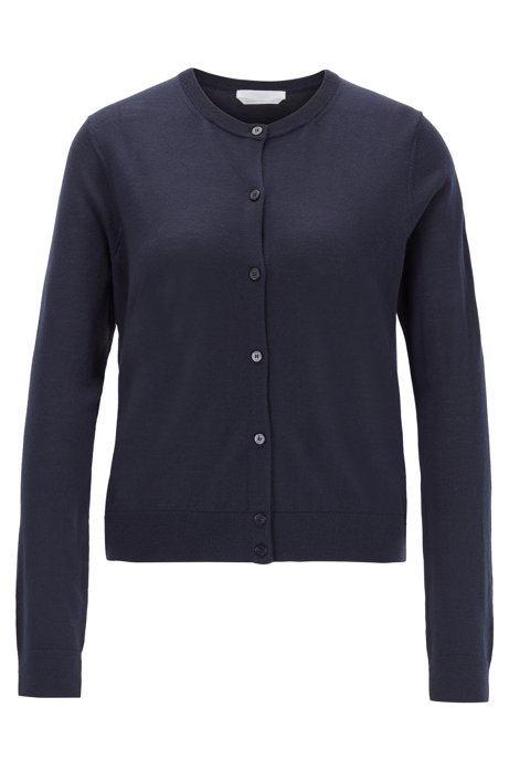 Knitted crew-neck cardigan in virgin wool, Open Blue