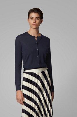 Cardigan à col rond en maille de laine vierge, bleu clair
