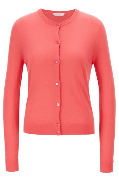 Knitted crew-neck cardigan in virgin wool, Pink