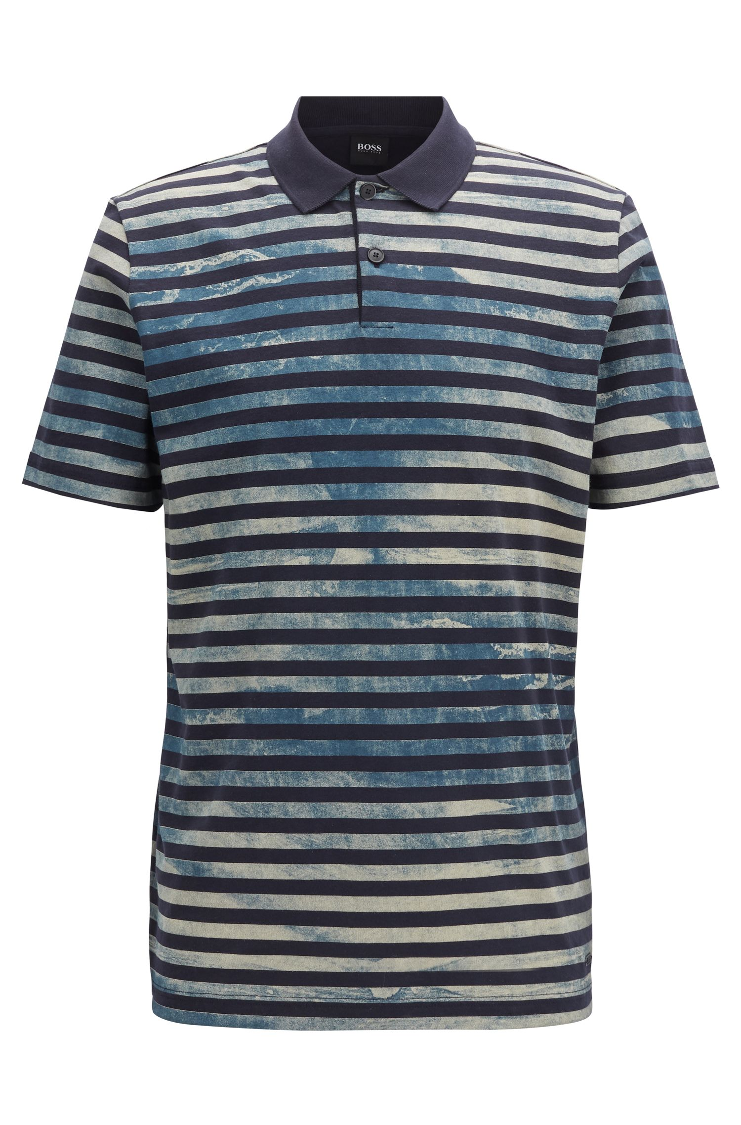Polo shirt in cotton jersey with bleached-look stripes, Dark Blue