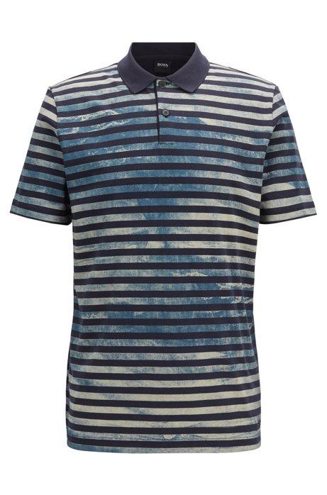 Polo in jersey di cotone a righe effetto scolorito, Blu scuro
