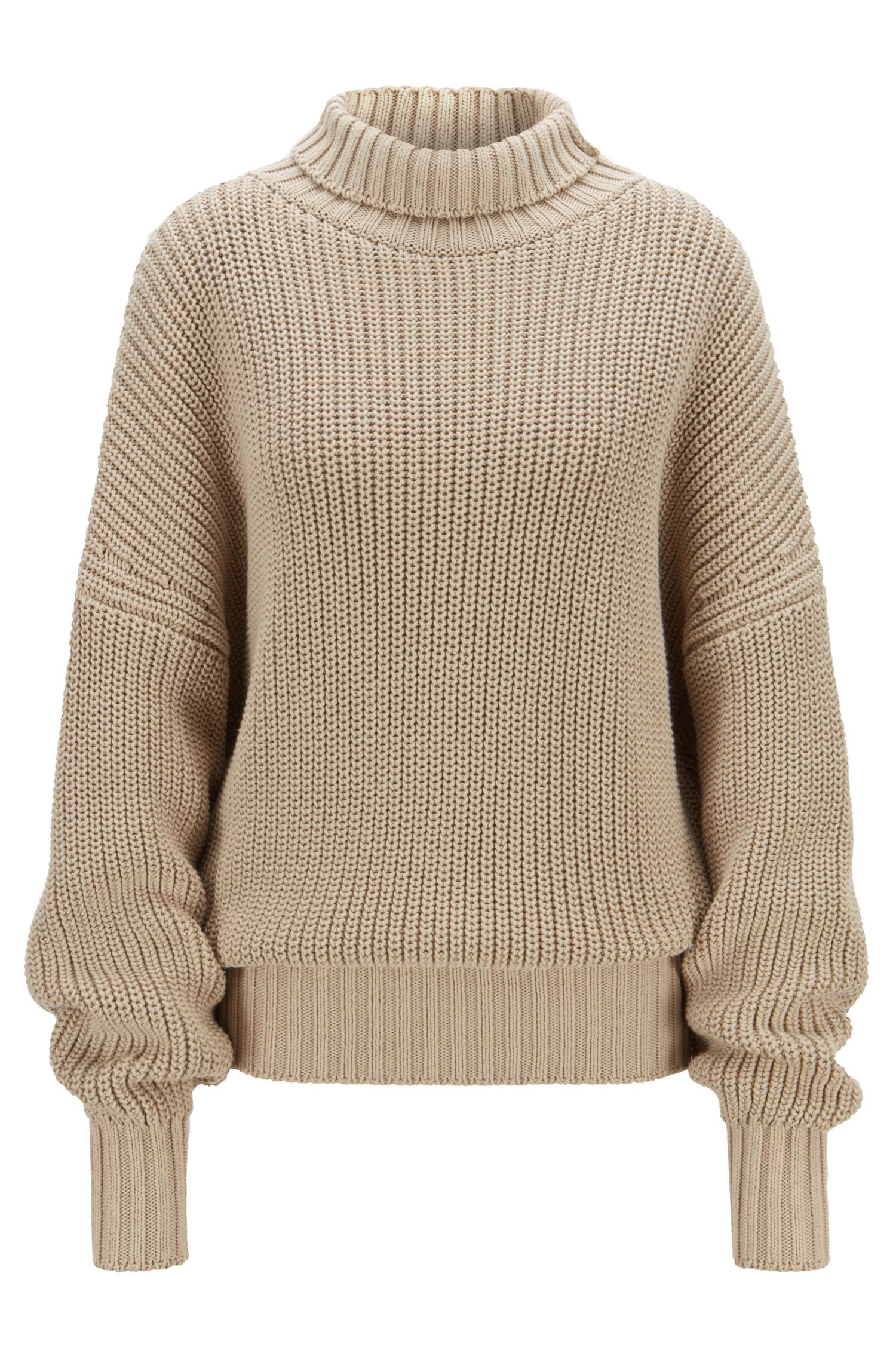 Oversized-fit turtleneck sweater with extra-long sleeves, Beige