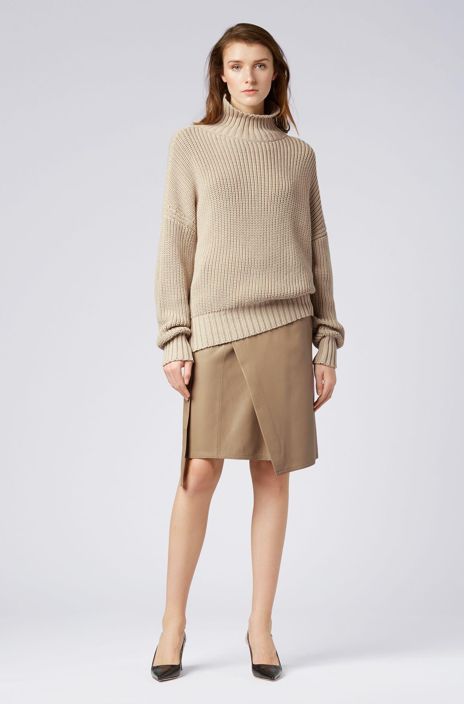 Oversized Rollkragenpullover aus Baumwolle mit Ärmeln mit Überlänge, Beige