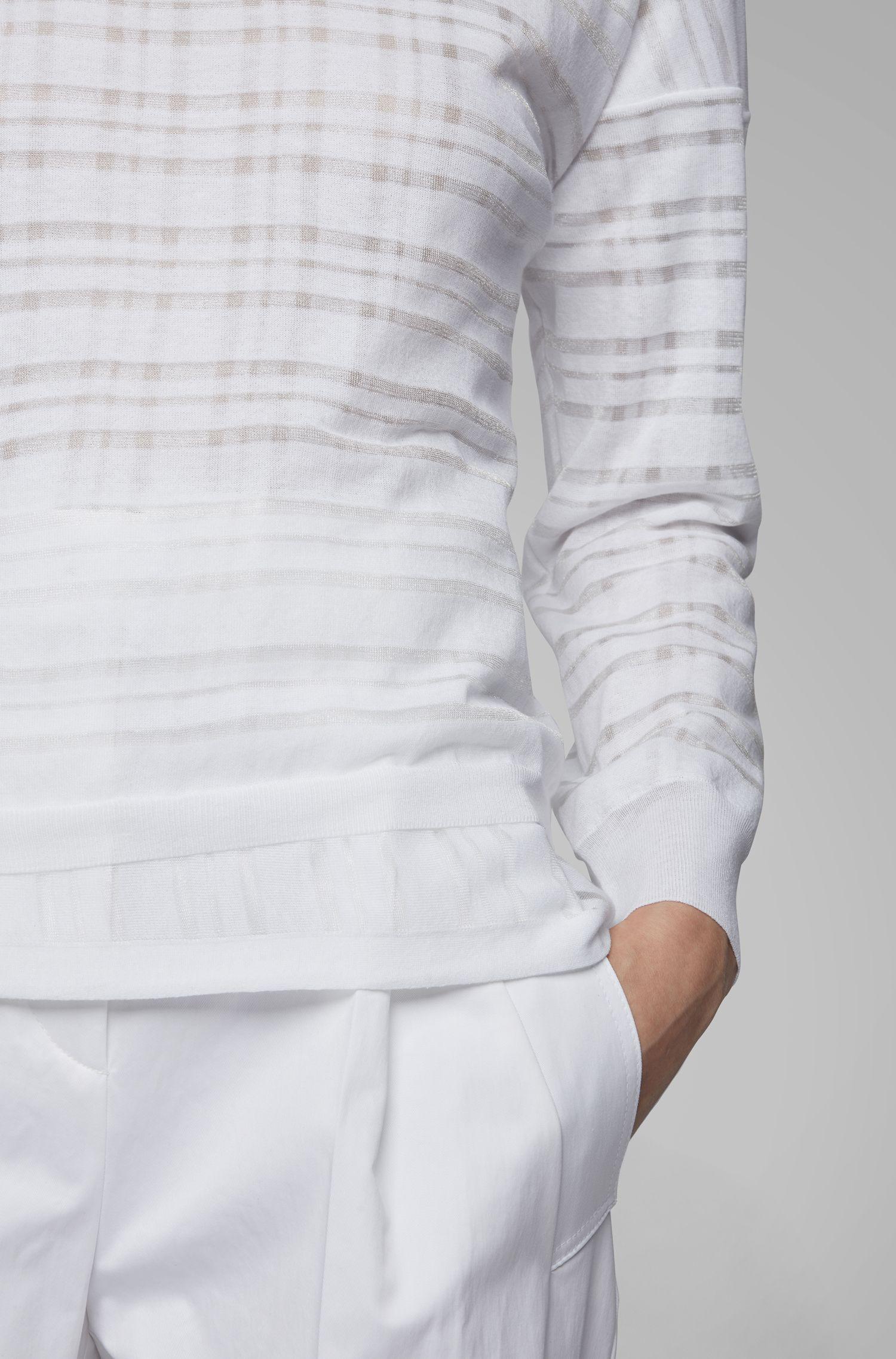 Pull Relaxed Fit à carreaux et effet superposé, Blanc
