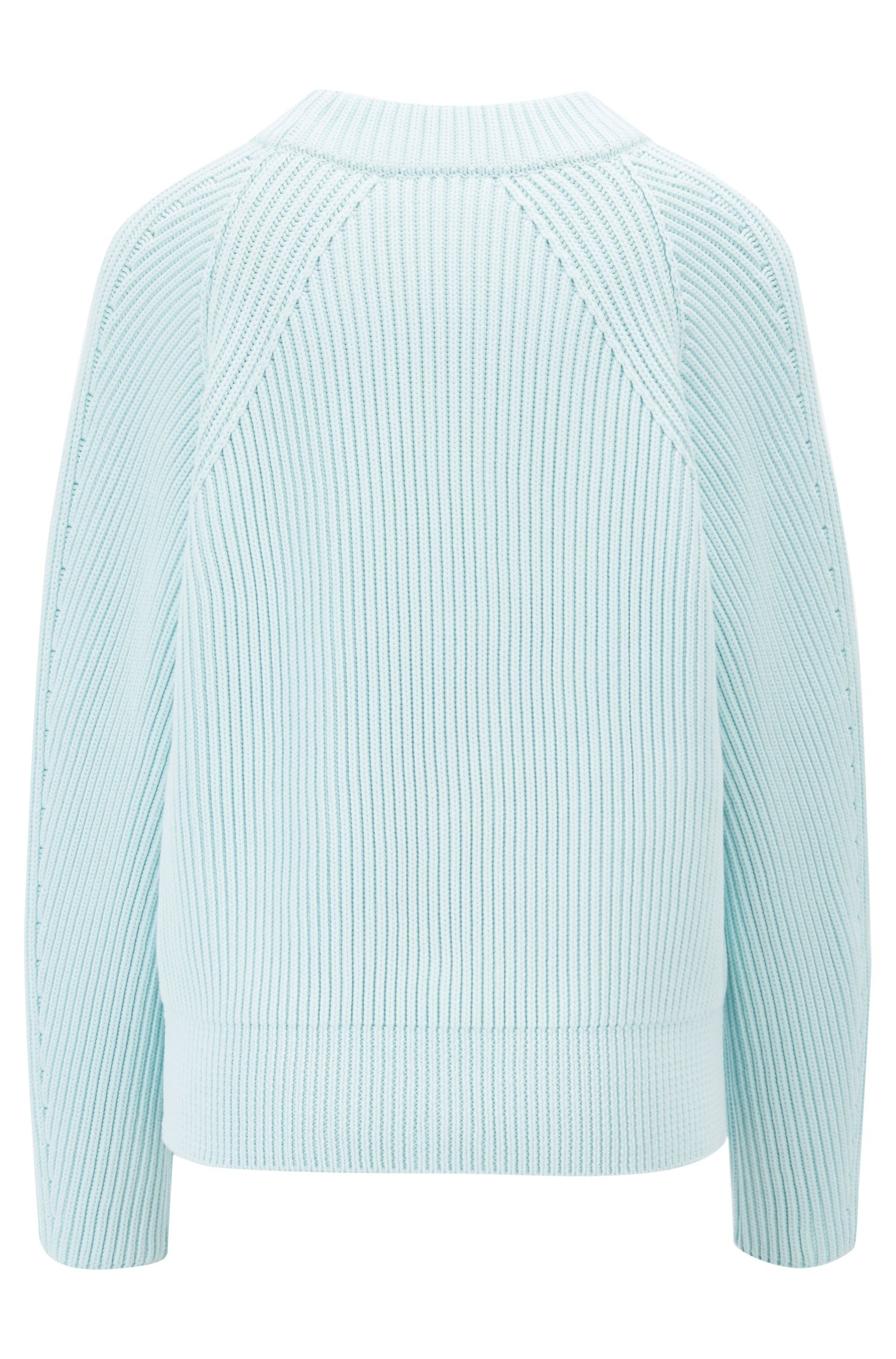 Relaxed-fit turtleneck sweater in a knitted cotton blend, Light Blue