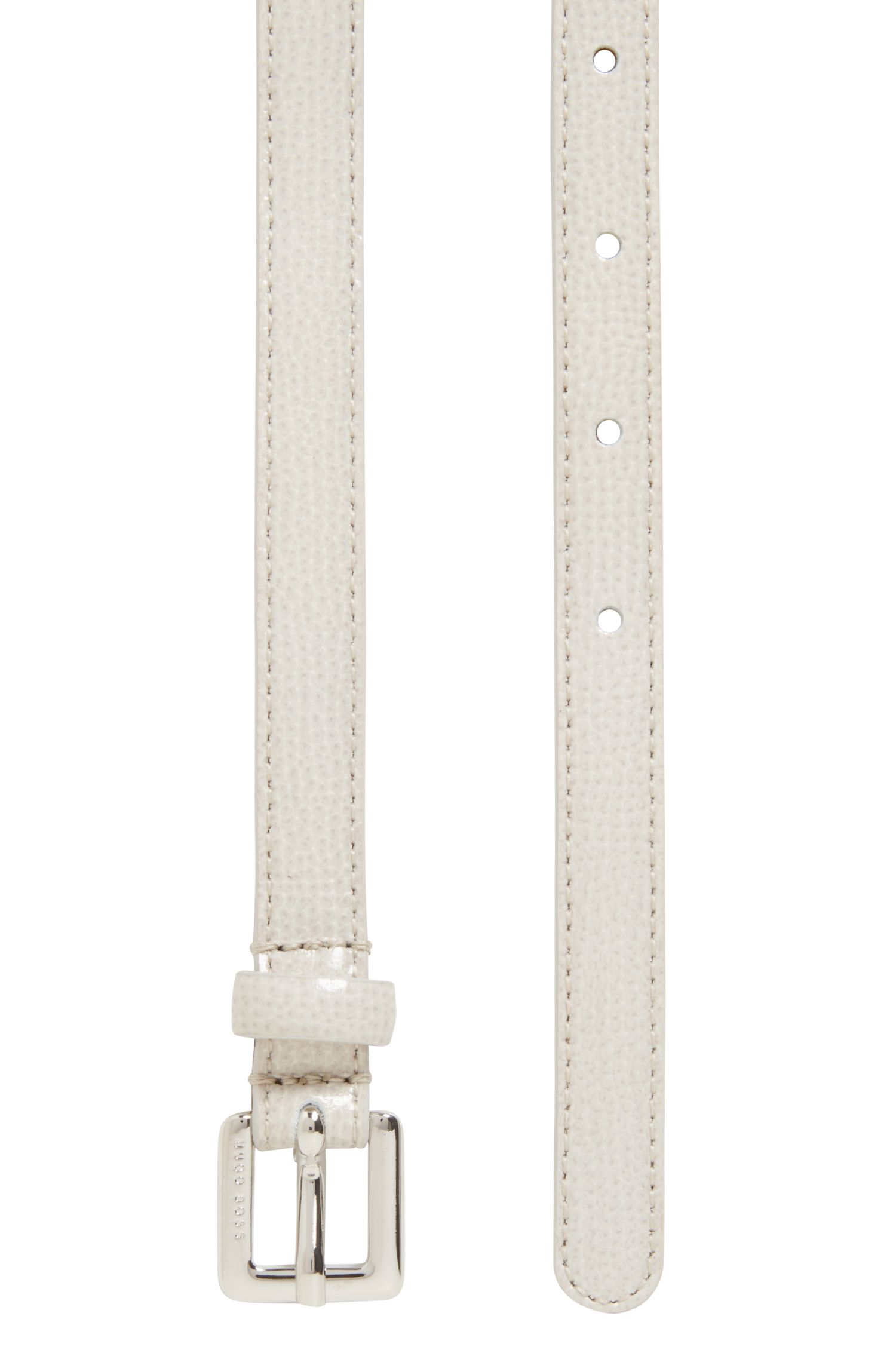 Saffiano-printed belt in Italian calf leather, Light Grey
