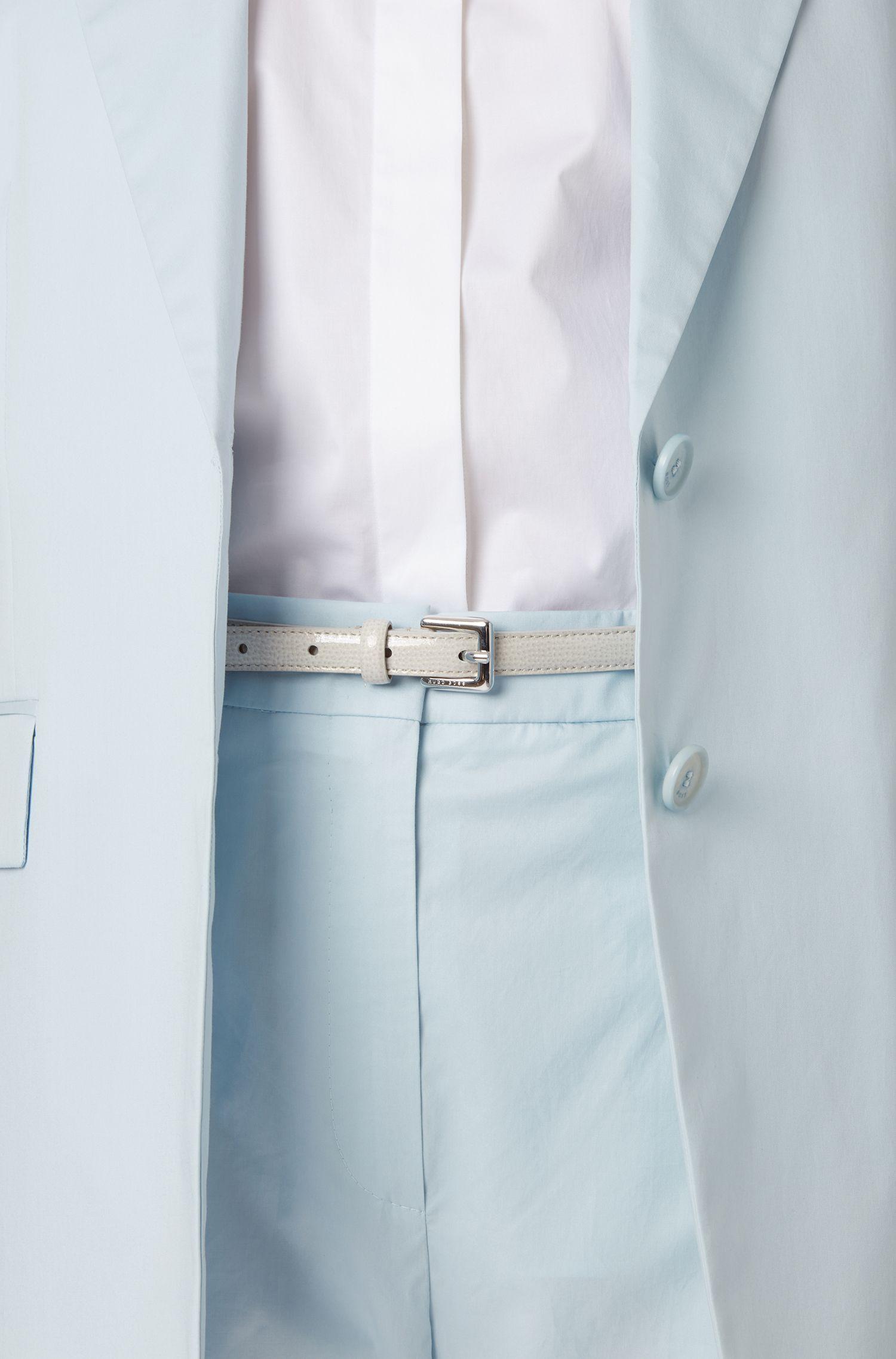Saffiano-printed belt in Italian calf leather, Light Grey