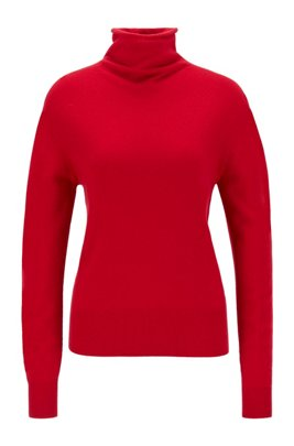 Funnel-neck sweater in pure cashmere with seamless construction, Red