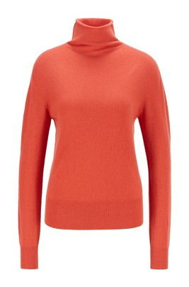 Funnel-neck sweater in pure cashmere with seamless construction, Dark Orange