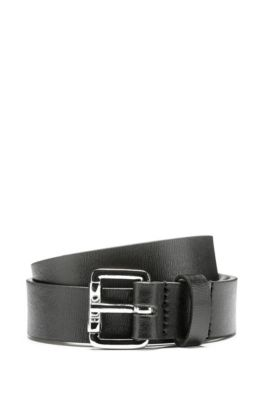 Pin-buckle belt in palmellato-printed Italian leather, Black