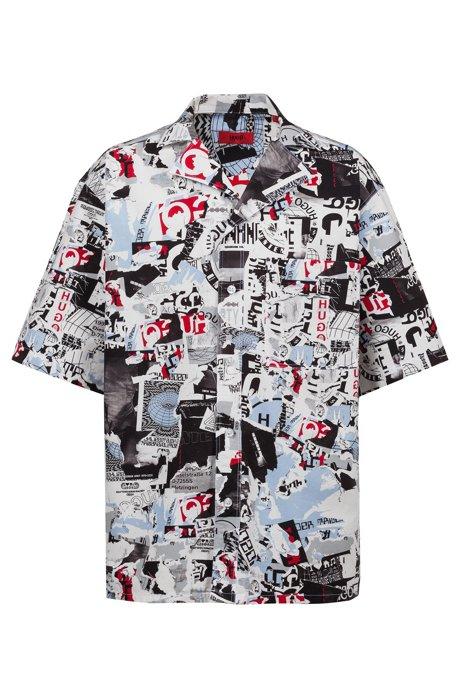 Oversized, bedrukt overhemd met camp-kraag uit de Fashion Show-capsule, Bedrukt
