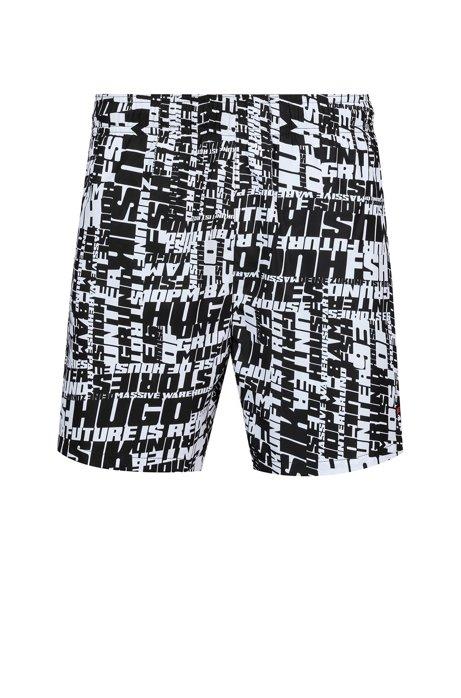 Slogan-print swim shorts in quick-drying fabric, Black