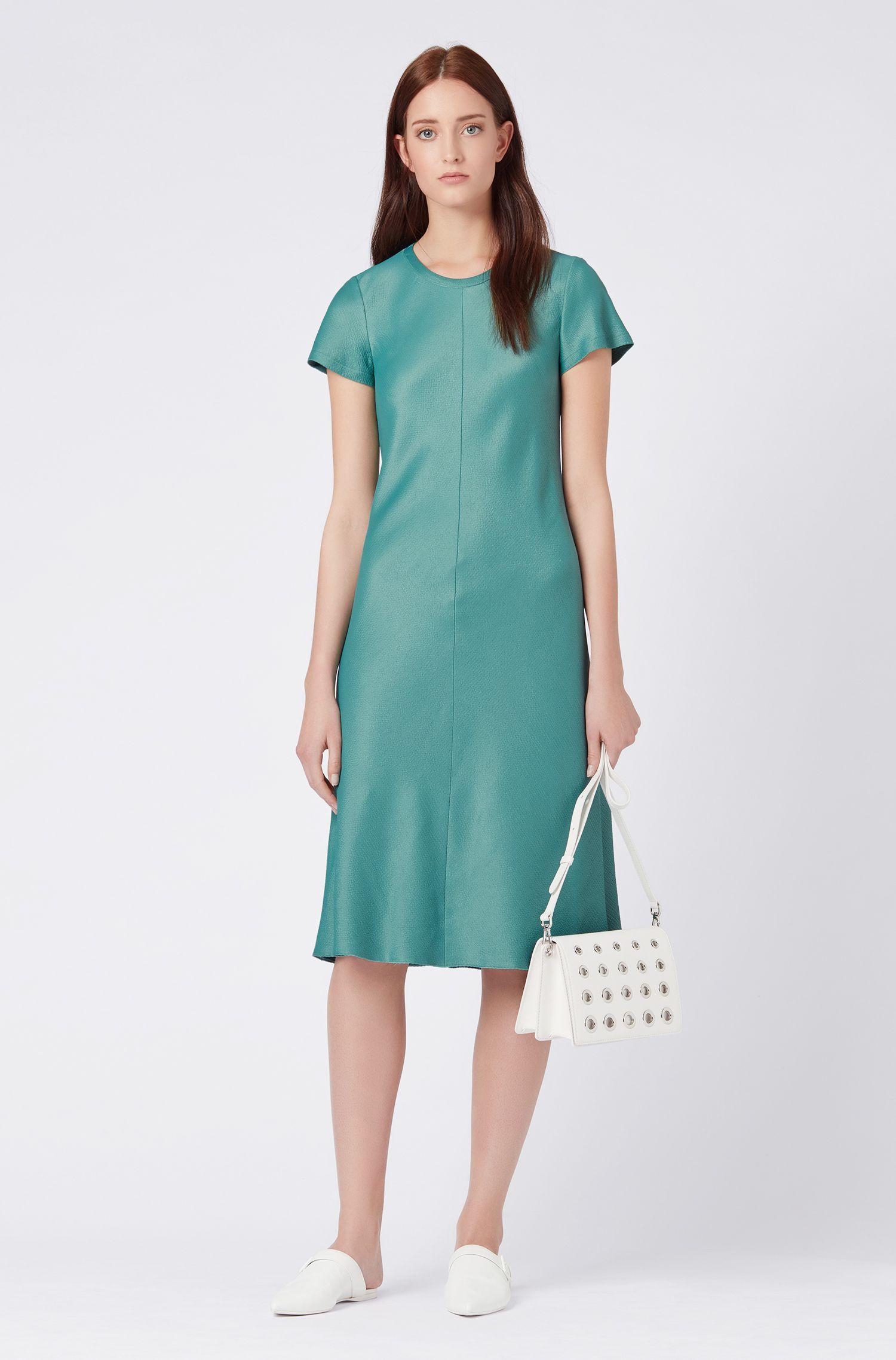 Short-sleeved A-line dress in French seersucker, Green