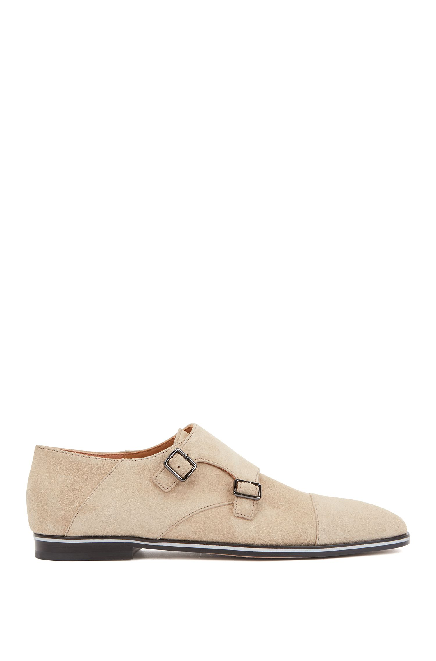 Italian-made double-monk shoes in calf suede, Light Beige