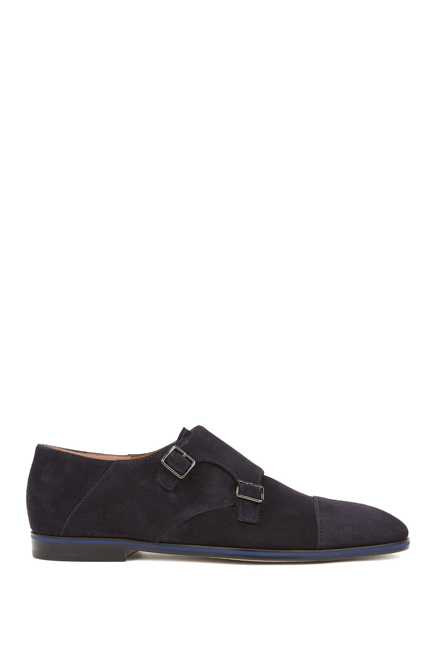 Italian-made double-monk shoes in calf suede, Dark Blue