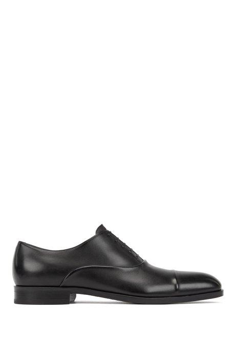 In Italien gefertigte Oxford-Schuhe aus pflanzlich gegerbtem Leder, Schwarz