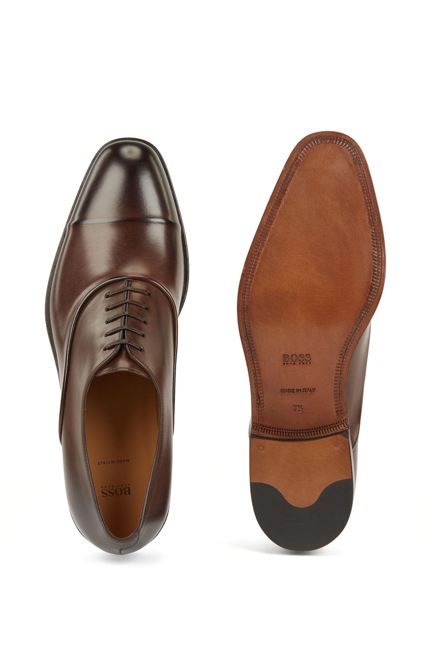Hugo Boss - Zapatos Oxford elaborados en Italia en piel de becerro de curtido vegetal - 5